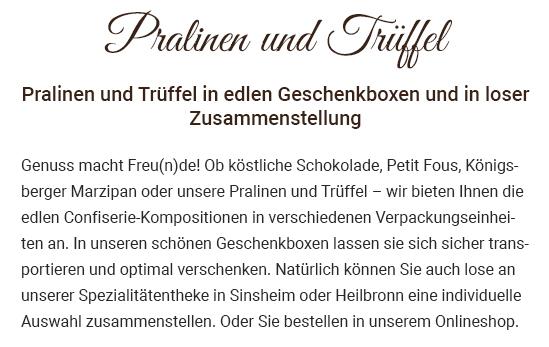 Pralinenmischung für 74245 Löwenstein